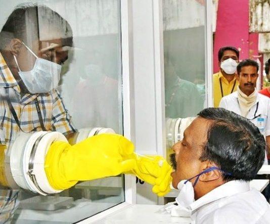 A walk-in test centre for coronavirus in Ernakulam