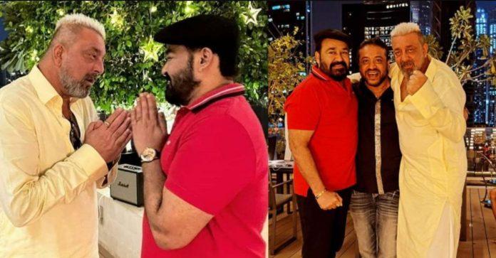 Mohanlal celebrating diwali with Sanjay Dutt