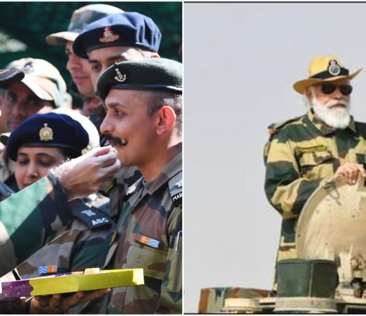 PM Modi celebrates diwali with Indian army