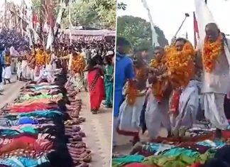Priests walking over women in Chattisgarh