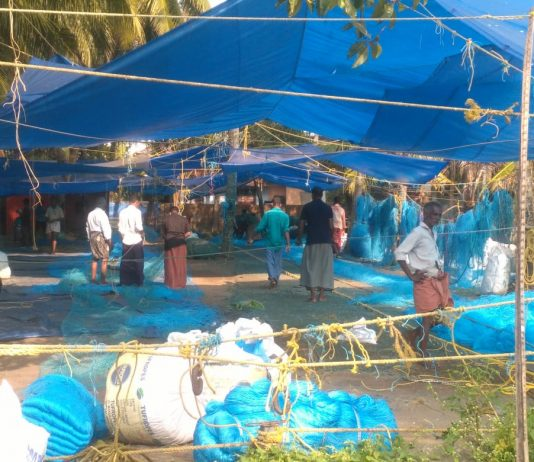 Fishermen in net making, Elankunnappuzha