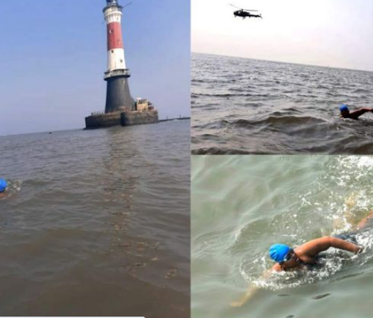 Autistic child Jiya sets record by swimming in sea for 36km