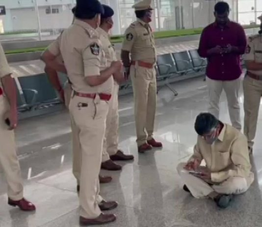 Chandrababu Naidu under police custody from Tirupati airport