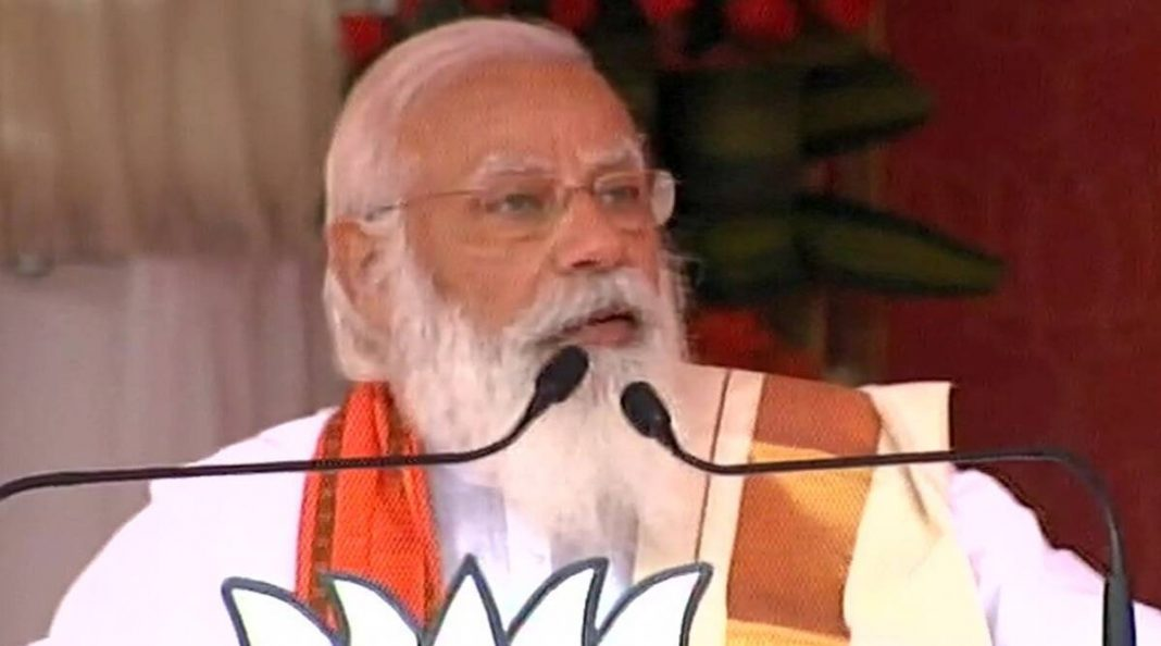 Prime Minister Narendra Modi at a rally in Palakkad