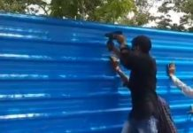 Lucknow cremation ground being covered with tin sheets