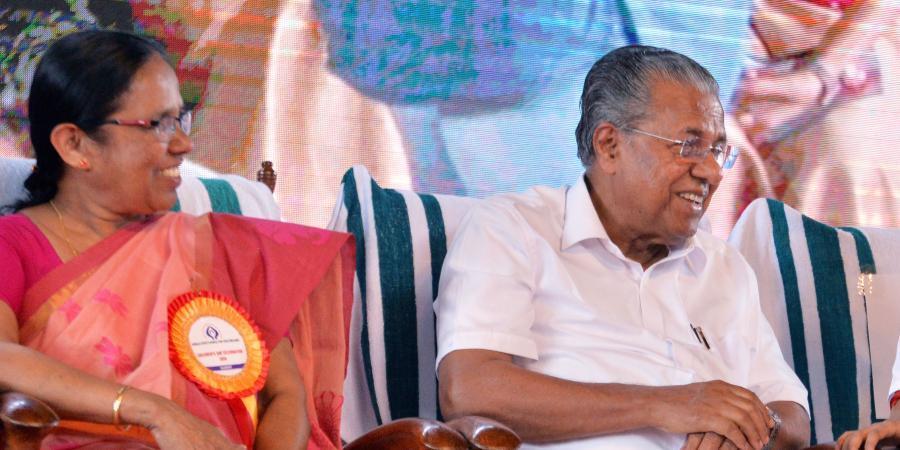 Pinarayi Vijayan and K K Shailaja. Pic C: The New Indian Express